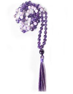 amethyst and cape amethyst mala. spiritual growth and nourishment. Amethyst Gemstone, Purple Amethyst, Gemstone Beads, Tie Pattern, Spiritual Growth, Third Eye, Illusions, Tassel Necklace, Lilac