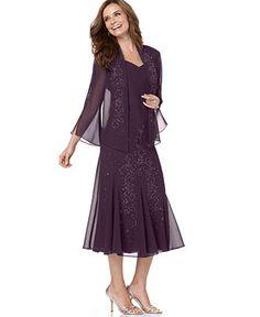 R Richards Dress and Jacket, Sleeveless Beaded V-Neck - Womens - Macy's