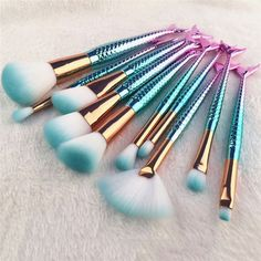 Unique Mermaid Makeup Pinsel Set Fish Tail Foundation Puder Lidschatten Make . - Unique Mermaid Makeup Pinsel Set Fish Tail Foundation Puder Lidschatten Make-up Pinsel Kontur - Eye Makeup Brushes, It Cosmetics Brushes, Makeup Brush Set, Makeup Kit, Eyeshadow Makeup, Makeup Cosmetics, Eyeliner, Cosmetic Brushes, Makeup Remover