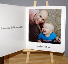"""DIY Book, """"I love my daddy because ."""" Cute idea for first Father's Day gift? Fathers Day Crafts, Happy Fathers Day, Daddy Gifts, Gifts For Dad, Parent Gifts, Kids Gifts, Easy Father's Day Gifts, Diy Cadeau, Daddy Day"""