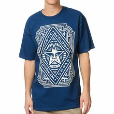 The Obey Voltage blue tee shirt is yet another in a long line of premium Obey Clothing tee shirts here to change the game. This 100% cotton standard fit guys short sleeve crew neck tee shirt features a large intricate Obey pattern with the classic Andre T