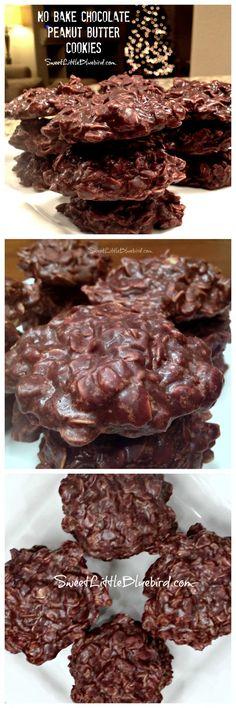 NO BAKE CHOCOLATE PEANUT BUTTER COOKIES - Cinch to make! Oldie but goodie recipe! | SweetLittleBluebird.com