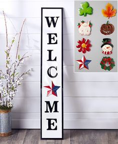 Outdoor Welcome Sign, Wooden Welcome Signs, Welcome Home Signs, Front Porch Signs, Greenery Wreath, Wreaths, Lakeside Collection, Diy Signs, Wall Signs