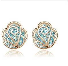 The fashion rhinestone Camellia earrings stud-gold+blue