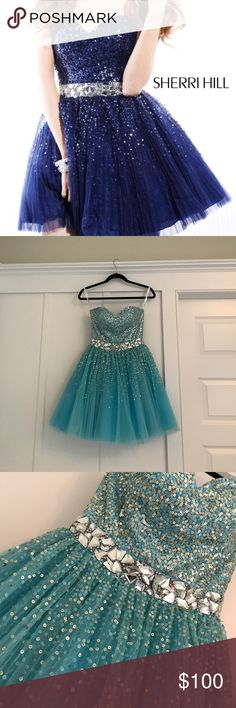 "Sherri Hill Dress turquoise/light blue colored, sequins, strapless, size 0; 31 1/2"" bust, 25 1/2"" waist Sherri Hill Dresses Prom"