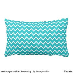 Teal Turquoise Blue Chevron Zigzag Pattern Throw Pillow