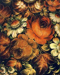 """Россия.Жостово.Поднос """"Осень"""".Фрагмент.1975"""