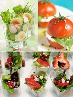 Fun ways to serve salad! #creative #entertaining #creativeentertaining #partyfood #party #food #appetizers #fingerfood