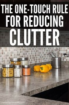 Organizing Tip: How this one touch rule helps get rid of clutter on your kitchen counters and more!  How to organize | declutter | declutter kitchen counters | clean kitchen table | organize kitchen | organize tips | cleaning tip  #organize #clean #cleaningtips #organizedhome #getridofclutter
