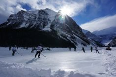 Beautiful Lake Louise. Annual Pond Hockey Classic. Alberta, Canada