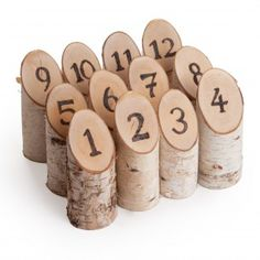 Natural Birch Woodburned Table Numbers (Set of 12)