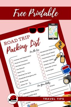 This road trip packing list includes all of the road trip essentials you need to pack for a fantastic road trip. It includes healthy road trip snacks, road trip ideas for kids, road trip tips for taking a road trip with dogs, winter road trip essentials, and more in one handy dandy road trip packing list. Download this road trip checklist (and print the free printable) for road trip tips and so you don't forget anything! Road Trip Checklist, Road Trip Packing List, Road Trip Essentials, Travel List, Travel Packing, Winter Road, Winter Travel, Roadside Emergency Kit, Road Trip With Dog