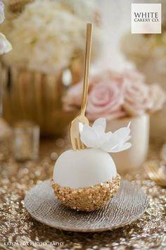 glam cake pops   gold white and sparkly we ❤️ this! moncheribridals.com #weddingcakepops #weddingdesserts