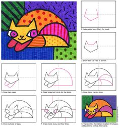 Learn how to draw a Romero Britto cat with this Pop Art style tutorial. It's all drawing with bright colors and patterns. to drawing a cat Draw a Romero Britto Cat · Art Projects for Kids Arte Pop, 3rd Grade Art, Ecole Art, School Art Projects, Art Lessons Elementary, Art Lesson Plans, Art Classroom, Art Plastique, Art Activities