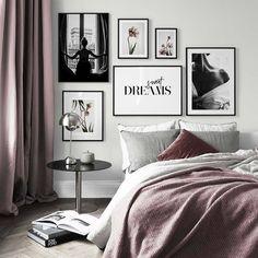 Hotta upp väggarna i höst med Desenio posters - Inredningsvis Gallery Wall Bedroom, Bedroom Wall, Bedroom Decor, Decor Room, Gallery Walls, Home Decor, Modern Bedroom, Inspiration Wand, Interior Inspiration