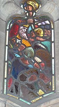 Stained glass window from the cloister of Worcester Cathedral showing the death of Penda of Mercia at the battle of Winwaed. The battle had a substantial effect on the relative positions of Northumbria and Mercia.