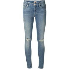 Another fav. Thank you perfect pear and hiking!    Mother distressed skinny jeans ($335) ❤ liked on Polyvore featuring jeans, pants, blue, distressed jeans, distressing jeans, destroyed jeans, skinny leg jeans and ripped jeans