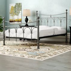 Bring timeless elegance to any bedroom with this Gamma Bed Frame, showcasing a vintage-style design and a sprung slatted base for added comfort. Upholstered Bed Frame, Upholstered Ottoman, Wood Headboard, Metal Platform Bed, Wooden Bed Frames, Ottoman Bed, Cottage, Vintage Stil, Metal Beds