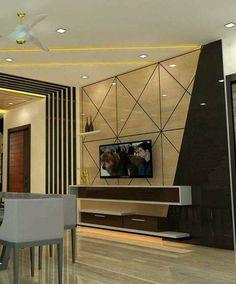 Living Room Partition Design, Living Room Tv Unit Designs, Ceiling Design Living Room, Bedroom False Ceiling Design, Room Door Design, Tv Wall Design, Home Room Design, House Design, Tv Unit Furniture Design