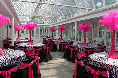 Beautiful zebra & hot pink party - love the centerpieces!