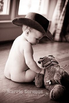 love this little cowboy- 6 month old baby boy photo idea