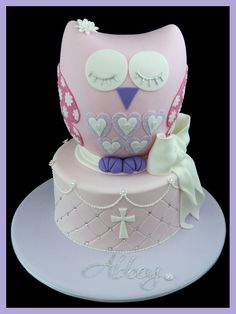 owl cake for girls christening.. love the closed eyes and soft colors/