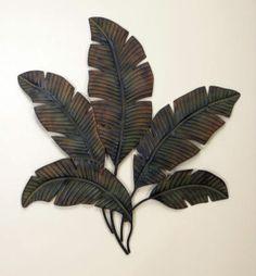 Large-Tropical-35-Metal-Wall-DECOR-Banana-Leaves-PALM-TREE-Tiki-ART-Modern-NEW