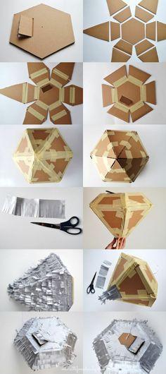 pinata diamant selber machen, schere, silbernes papier