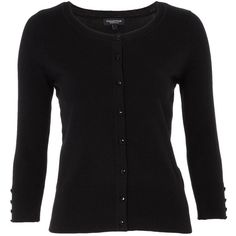 Petite black plain button cardigan ($36) ❤ liked on Polyvore