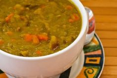 Crockpot Recipe for Split Pea Soup with Chicken Sausage and Carrots