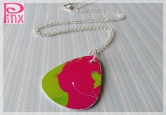 'Pink Gift Card to Guitar Pick Upcycled Necklace' is going up for auction at  8pm Thu, Jun 7 with a starting bid of $3.
