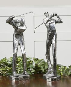 Practice Shot by Uttermost in Metallic Silver with a matte black glaze.   Makes a great gift for a golfer.  Arrived in Stock!