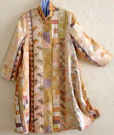 I like the colors chosen. Quilted Clothes, Sewing Clothes, Diy Clothes, Piece Of Clothing, Art Clothing, Upcycled Clothing, Rachel Clark, Quilted Jacket, Quilted Coats