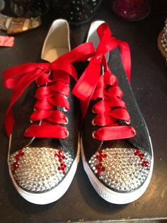 Adult Baseball Blinged Tennis Shoes on Etsy, $36.00....I'm pretty sure that I can do this for my girls for basketball too. @Rebekah Sheppard Fejes these are cute!!