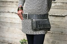 Dark olive Hip Bag, Crocodile print, security pouch, bum bag, fanny pack, genuine soft leather, 3 compartments, festivals, travel bag