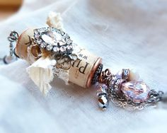 Your place to buy and sell all things handmade Wine Cork Jewelry, Wine Cork Art, Wine Cork Crafts, Wine Bottle Crafts, Beaded Jewelry, Wine Corks, Cork Necklace, Necklaces, Wine Cork Ornaments
