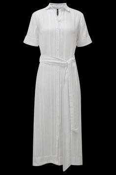 This shirt dress has become a chic LMF classic.  Wear this style for day or by the sea over your favorite LMF bikini. Wrap the belt to cinch your waist for a slim silhouette. Created in a semi sheer cotton voile this is a chic must have this summer. Shown here in white stripe. FABRICATION: 55% COTTON 45% LINEN.   MADE IN THE U.S.A. Cotton Shirt Dress by Lisa Marie Fernandez. Clothing - Dresses - Maxi Tulum Mexico