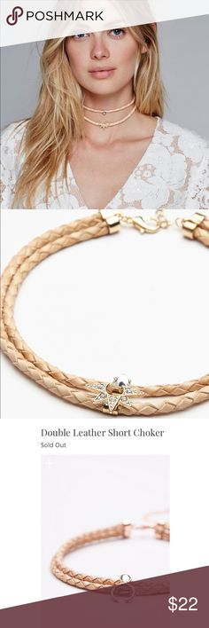 Free People Double Leather Short Choker Braided double leather choker featuring metal and semi-precious stone accents. Adjustable lobster clasp closure.  necklace accents are shown in first two pictures (sun and stone accents)  Measurements  Length: 14.0 in  Never worn Free People Jewelry Necklaces