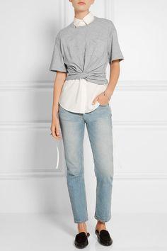 T by Alexander Wang | Cropped twist-front cotton-jersey T-shirt | NET-A-PORTER.COM