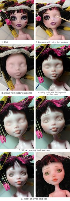 doll making Doll Repaint Before And After Monster High 63 Ideas Ooak Dolls, Barbie Dolls, Art Dolls, Monster High Repaint, Monster High Dolls, Monster High Doll Clothes, Doll Crafts, Diy Doll, Tree Change Dolls