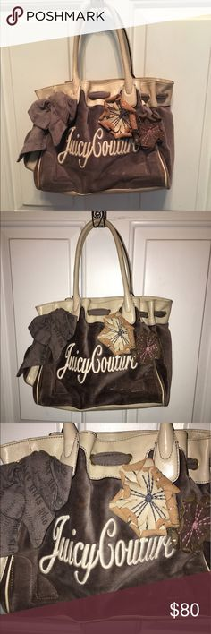 Juicy couture shades of brown purse Juicy couture purse. Shades of brown with flowers and bow. Gently used with love. Juicy Couture Bags