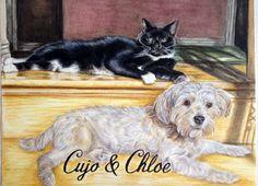 Portrait of Cujo and Chloe in oil pastels