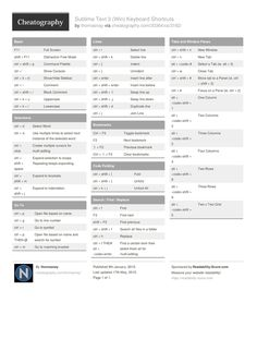Sublime Text 3 (Win) Keyboard Shortcuts from thomasnay. A selection of default keyboard shortcuts for Sublime Text 3 for Windows
