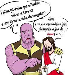 Jesus y thanos Jesus Art, My Jesus, Jesus Cartoon, Sad Life, Jesus Freak, Humor Grafico, Lord And Savior, Jesus Loves Me, Kids Church
