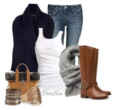 """""""navy cardigan"""" by stacy-gustin ❤ liked on Polyvore featuring Mode, The Row, Soaked in Luxury, Scotch & Soda, Tory Burch, Wildfox, 3.1 Phillip Lim, Pamela Love, R.J. Graziano und skinny jeans"""