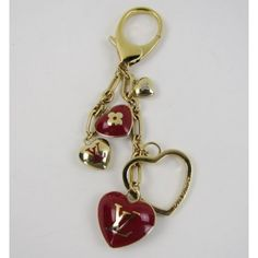 Louis Vuitton Red and Gold Hearts Bag Charm Keychain #MoshPosh
