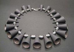"""Jet Mous  Cones, Black & Beige17""""                  Porcelain"""