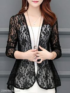 See-Through Floral Plain Long Sleeve Cardigans – holapick Stylish Shirts, Stylish Dresses, Trendy Outfits, Fashion Dresses, Curvy Outfits, Short Outfits, Maxi Dresses, Fashion Styles, Fall Outfits