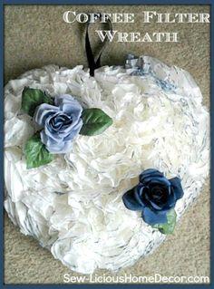 How To Make A Coffee Filter Wreath Tutorial. sewlicioushomedecor.com