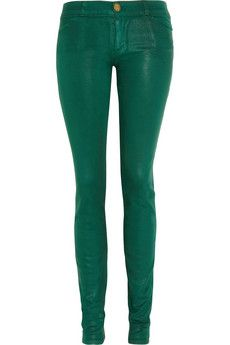 Check out these on #trend Current/Elliott green coated low rise legging jeans $154, get it here: http://rstyle.me/~8p5w